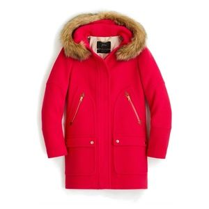 NEW J Crew Chateau Stadium Cloth Parka Coat Pink 2